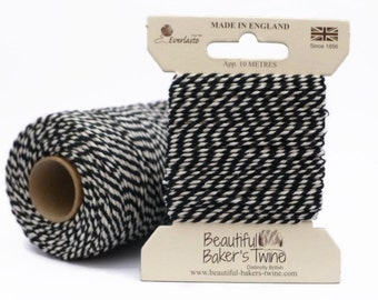 Black Baker's Twine 10m - Black and White Packaging String