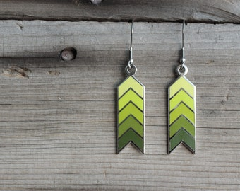 Green Ombre Chevron Earrings
