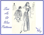 """1940s Unused Vogue 6597 Negligee Lingerie Night Dress Bed Cape Gown Jacket Full Skirt Shoulder Ties Vintage Sewing Pattern Size 14 Bust 32"""""""