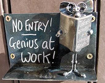 """Nerd Bookworm Door Plaque """"No Entry Genius at Work"""""""
