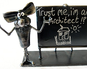 Architect Mouse Sculpture made from recycled steel