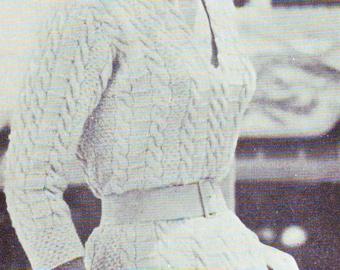 Vintage Vogue Aran Sheath Dress Knitting Pattern PDF