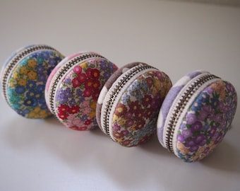 5cm, Macaron Jewelry Pouch/ Macaroon/ Coin Purse - Flower Garden II, Blue/Pink/Purple/Yellow -  Handmade in Japan by Chikaberry
