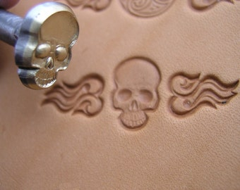 SET of 3 hand made leather stamps Skull Flame Heart middle
