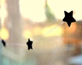 Star Garland, pink w/ silver sparkle