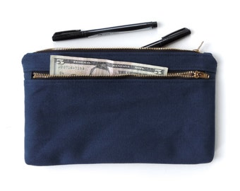 Canvas Pouch Double Zipper Cosmetic Bag Clutch Purse Navy Blue