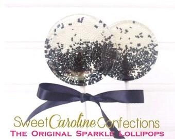 Black and White Lollipops, Black and White Lollipops, Candy Lollipop,Wedding Lollipops, Lollipops, Sweet Caroline Confections-Set of Six