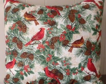 Christmas Decorative Pillow Cover,Home Decor,Cotton Fabric, Cardinals, Nature's Holliday Fabric Collection, Fast Shipping