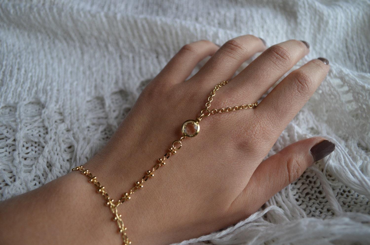 Gold slave bracelet bracelet ring slave ring ring connected
