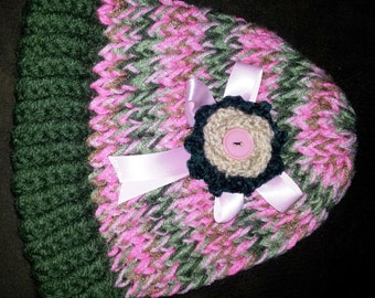 Pink Camo Button  Hat