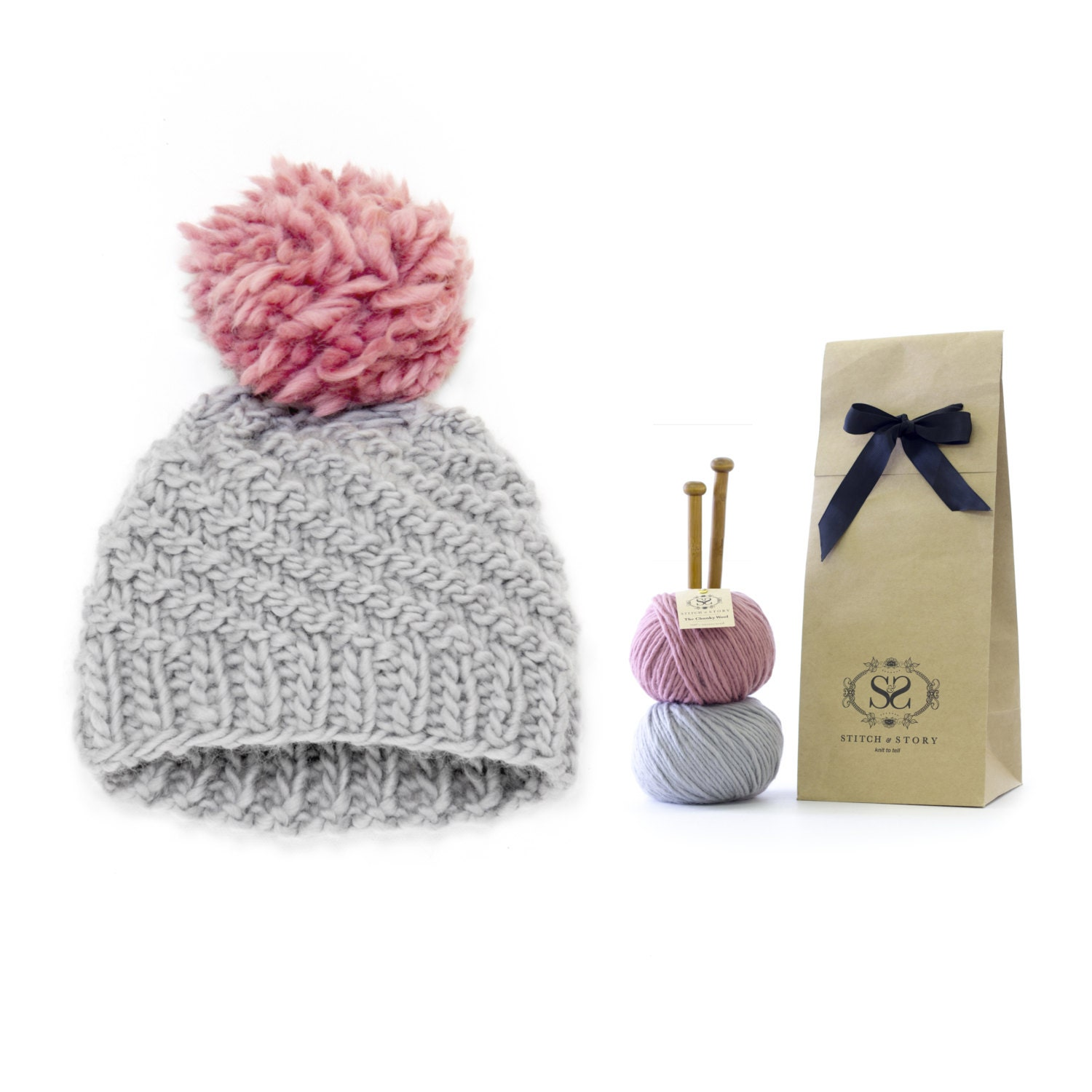 Knitting Kits For Beginners Uk : Beginner s pom hat knitting kit swirl