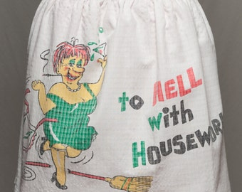 """Vintage Apron hand made 1950s ''Hell with Housework"""" Cartoon novelty apron 1950's"""