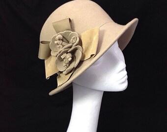 Cream hat, Cloche hat, Ladies hat, mothers day gift, Wedding hat, Spring fashion