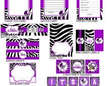 Zebra Baby Shower Party Favors, Purple Party Favors, Instant Download  - Digital File