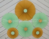 Mint Green and Gold Set of 6 (Six) Paper Rosettes