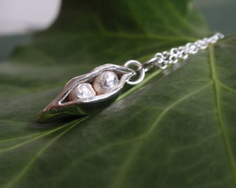 Sterling silver peapod necklace, sterling silver necklace, pea pod necklace, gardeners gift