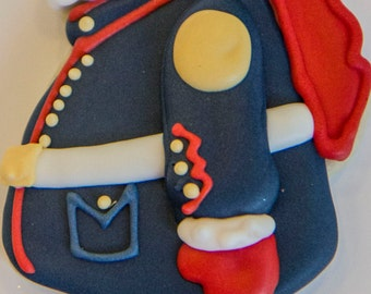One dozen military Santa cookies