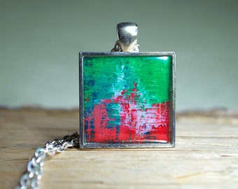 Green Red Pendant Necklace red green Jewelry Resin Jewelry Inspirational Jewelry Red Green Square Pendant Holiday colors