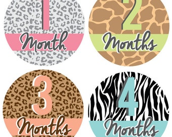 INSTANT DOWNLOAD - Monthly Onesie Labels - Animal Print Onesie Labels (Months 1-12)