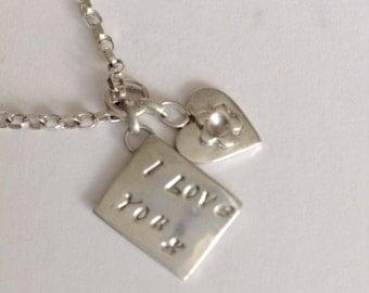 Solid Silver 'I Love You' Envelope Charm Bracelet