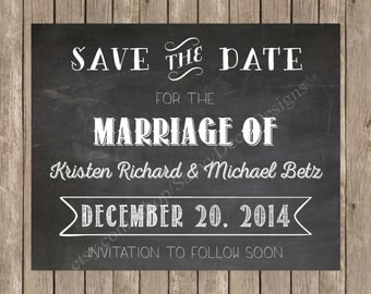 Chalkboard Save the Date Announcement Printable