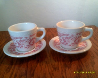 Set of Two Syracuse China Restaurant Ware Stoneware Coffee Cups and Saucers, Mayflower Pattern, Old Diner Dishes, Cafe Cups, Syracuse Cups