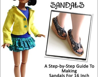 Pixie Faire Miche Designs Cork Wedge Sandals Doll Clothes Shoe Pattern for 16 inch Ellowyne Dolls - PDF