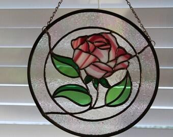 Stained Glass Pink Rose, Valentine's Day Gift, Window Hanging, Suncatcher, Mothers Day Gift, Birthday, Handmade, Glass Flower, Anniversary
