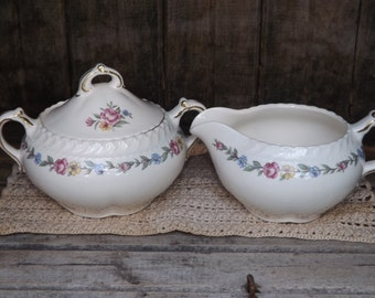Vintage Harker Pottery Royal Gadroon Creamer and Sugar Bowl/Bouquet 5/Home and Living/Kitchen and Dining