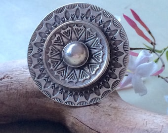 Tribal silver plated statement ring adjustable