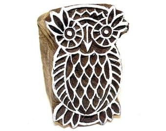 Handcarved Indian Wood Block Printing Stamp  - Large Owl