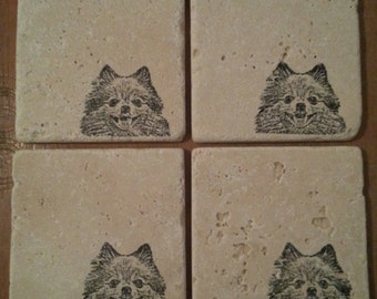 Natural Tumbled Marble Stone Pomeranian Coasters