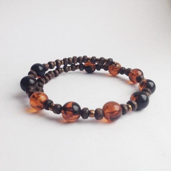 Ethical Boho Bracelet In Vintage Amber & Wood