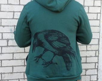 Raven Drawing Zip Up Hoody