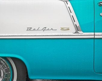 Chevy Bel Air teal and white fine art print