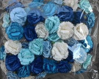 50 Wholesale Blue Carnation  Paper  Flowers 1 inch   Embellishment Scrapbooking Bulk Price
