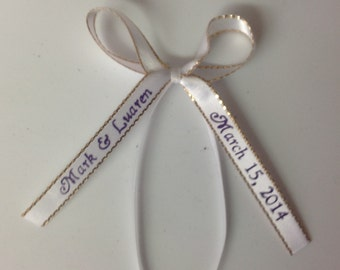 """50 Made Bows Personalized Ribbon 3/8"""" Satin Gold Edge Party Wedding Baby Shower Favor"""