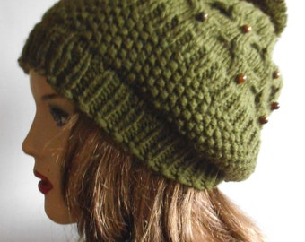 Olive Green Wool Hat. Hand Knit Hat. Winter Woman Hat.