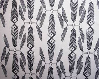 SALE -50% off, 1.22m, fabric, cotton fabric, feather print fabric, Scandinavian Fabric, Scandinavian design, kids fabric