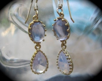Tanzanite and Violet Opal Faceted Glass Earrings with Gold Plated Frame and 24K Gold Filled Ear Wires
