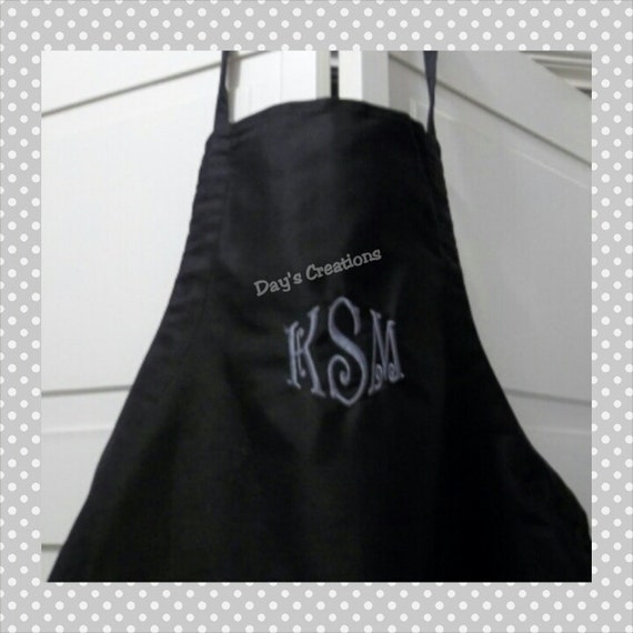 Monogrammed Apron - Personalized Full Leigh apron - Custom made monogramed gift - pocketed monogrammed apron - personalized apron