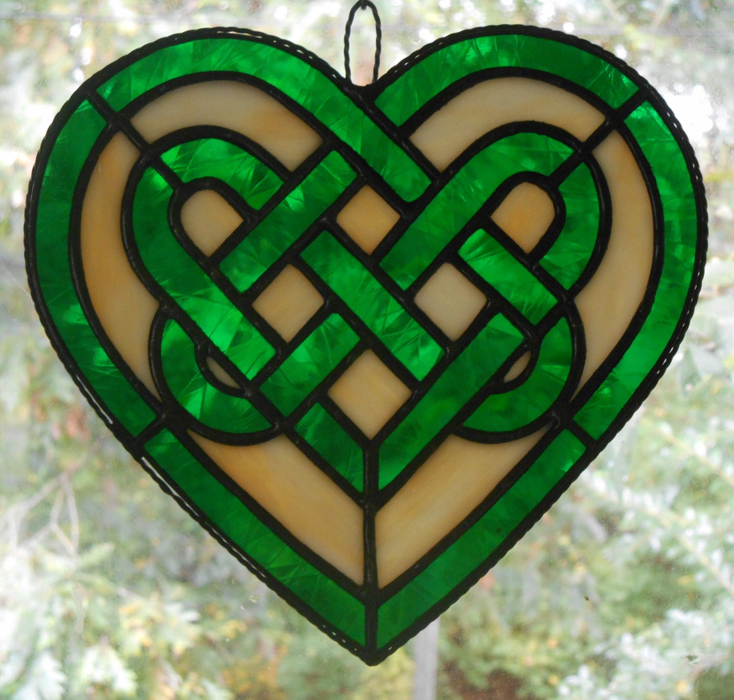 Stained Glass Celtic Knot Heart in Green Handcrafted in the