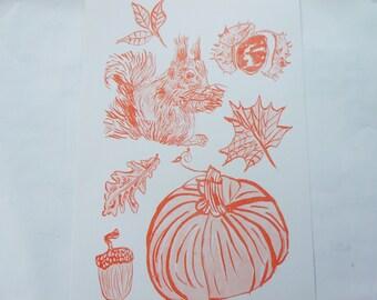 Autumn Inspired A3 Risograph Print