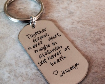 Together forever never apart maybe in distance but never at heart personalized keychain dad military