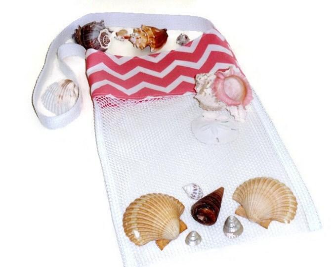 Mesh Beach Tote, Kids Shell Tote, Peach Chevron, Seashell Bag, Beach Bag, Pool Toy Bag, Sand Beach Toy Bag, Beachcomber Bag, Gift for Girls