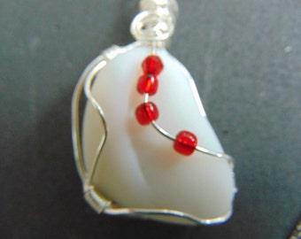 Sea Glass Pendant - Beach Glass Jewelry -  Milk Glass Wire Wrapped Beachglass -