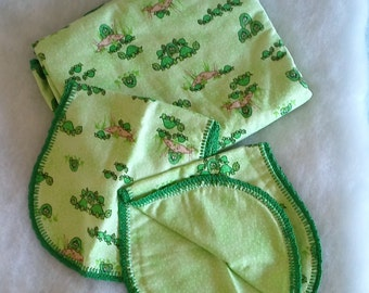 Green Turtle with Dark Green Crochet Edge and Green Backing Hemstitched Baby Blanket and Burps by Lindas Hemstitching