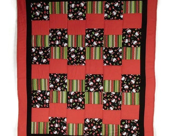Hello Kitty Christmas with Red Minky Backing Machine Quilted Handmade Quilt