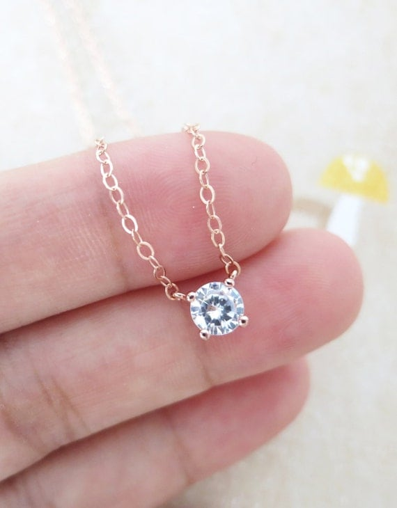 Simple Diamond Drop necklace rose gold filled by ColorMeMissy