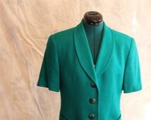 Christian Dior short sleeve button up teal blazer